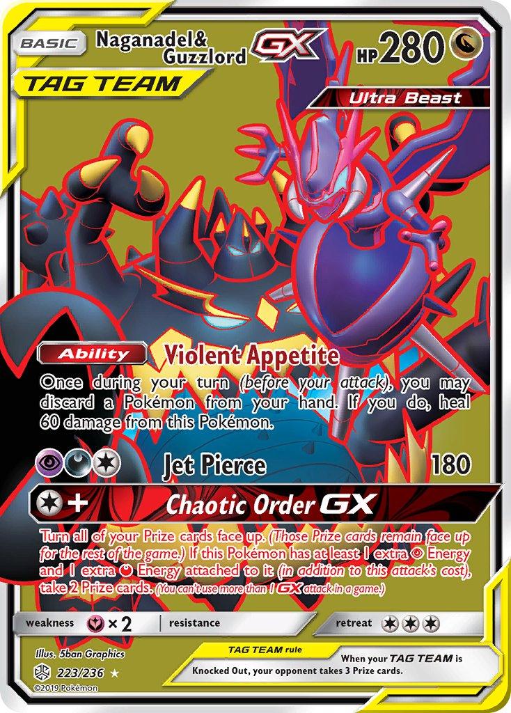 224//236 Naganadel /& Guzzlord GX Full Art Ultra Rare Cosmic Eclipse